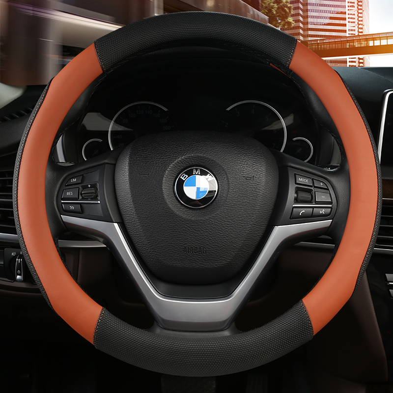 KKYSYELVA Car Interior Accessories Black Auto Sports Steering Wheel Cover Leather 38cm Vehicle Truch Steering Covers