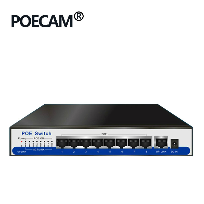 Switch Gigabit Poe a 9 porte 100 / 1000Mbps IEEE802.3af / at POE attivo 8 porta 50v2.3a per 8p 1080MP 2MP 3MP 4MP 5MP 6MP HD ip