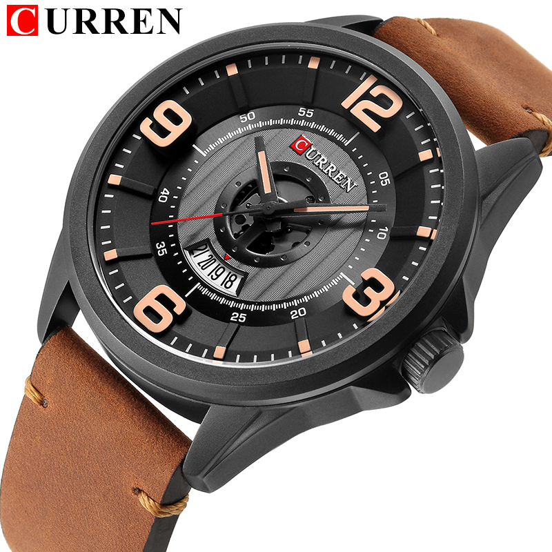 цена на CURREN 2018 fashion top new Luxury Brand Relogio Masculino week Date diaplay Leather strap Men Sports Watches Quartz Clock 8305