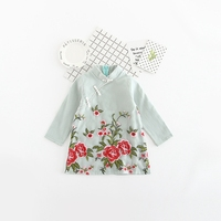 2017 Spring Children S Chinese Style Vintage Flower Long Sleeve Stand Collar Retro Dress Girls Cheongsam
