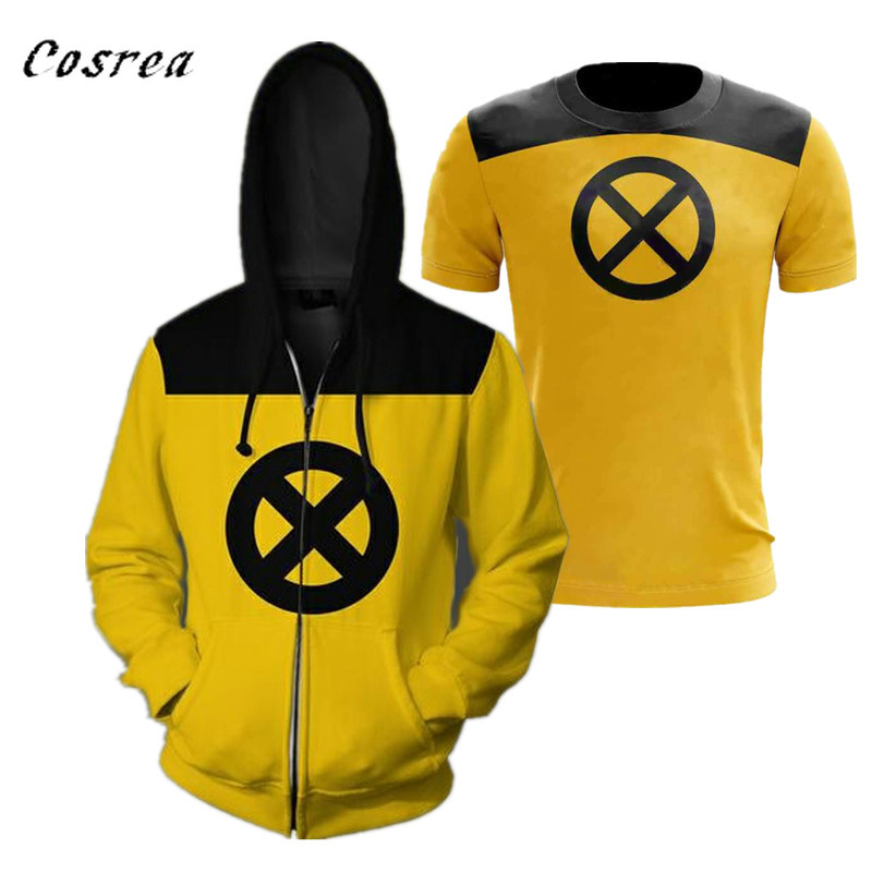 Movie Deadpool 2 Cosplay Costumes T-shirt Polyester Zipper Hooded Superhero Yellow Short Sleeve Shirt Hoodies Sweater Man Boy