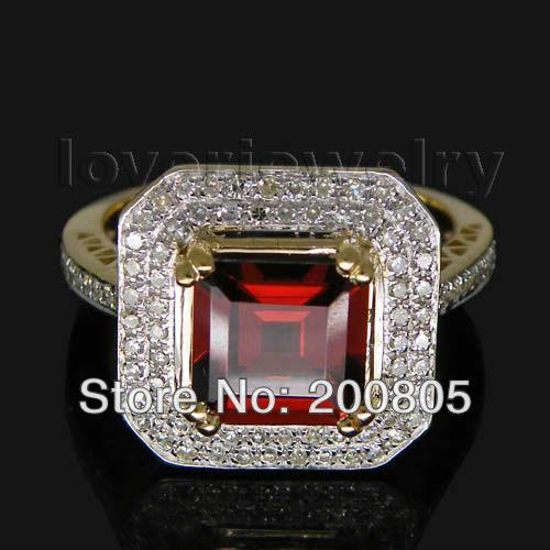 Festival Gift Princess 8mm Solid 14Kt Yellow Gold Diamond Red Garnet Ring WR0013 цена