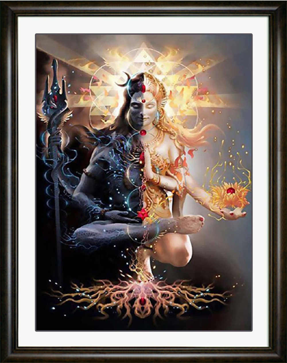 5D DIY Diamant Gemälde Volle Runde Bohrer Shiva Mosaik Kunst Kreuz Stich Stickerei Religion Muster Wand Aufkleber Dekoration Hause