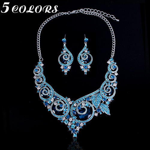 2017 Hot sale Lindo cristal nupcial conjuntos de jóias de casamento conjuntos de jóias de strass colar + brincos baratos por atacado