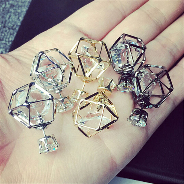 wing yuk tak Brand Latest Fashion Double sided earring Contracted Geometric Alloy Hollow Stud Earrings for women stud Jewelry
