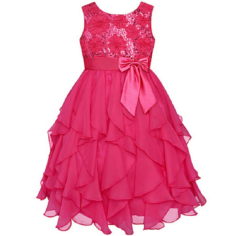 On Sale Christmas Flower Baby Girl Dresses Red Sequin Big Bow Baby Party Dress for wedding vestidos New Year For Girls Clothes