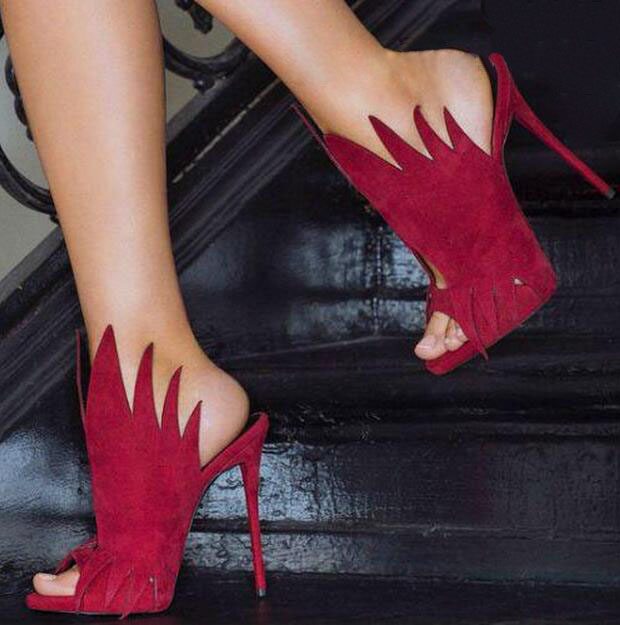 Chic wine red sawtooth high heel sandal peep toe stiletto heel slippers for women party dress shoes woman size 35 to 42 on disco party suede and stiletto heel design peep toe shoes for women
