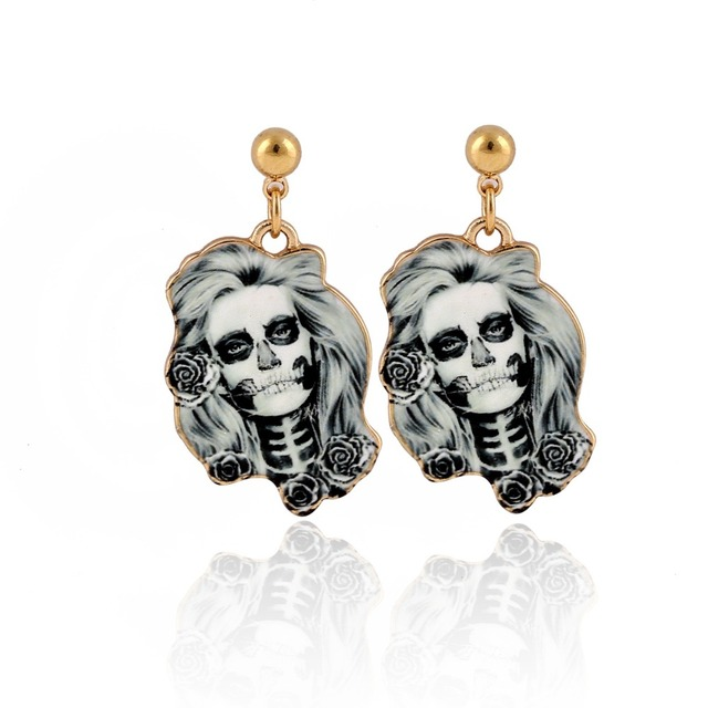 1Pair Calavera Sugary-sweet whimsical skull Earrings celebrate Mexican Day  of the Dead Halloween Sugar Skull Women Head Earring a0c40e83200a