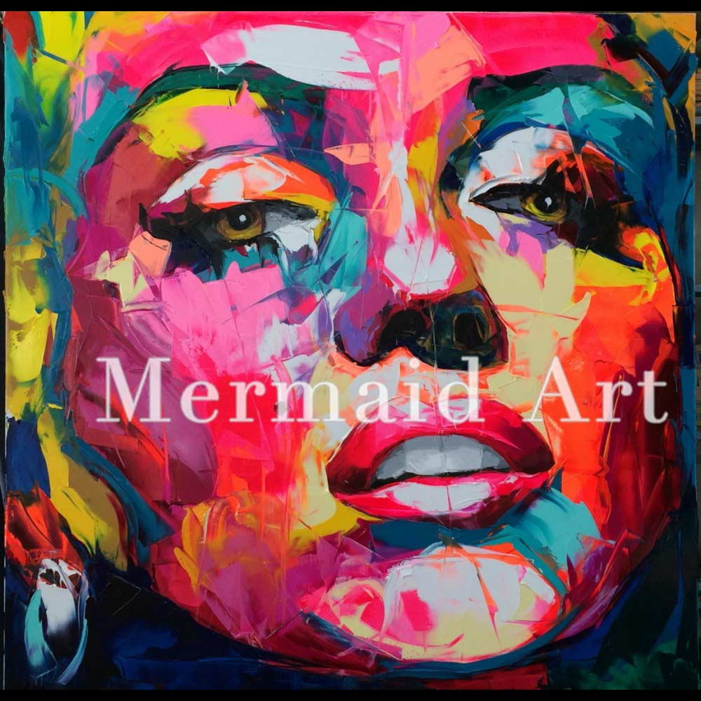 Hand Painted Abstract Cool Face of the Francoise Nielly Thick Palette Knife Oil Paintings Art On Canvas Living Room Decoration1