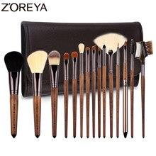 Zoreya 15 pçs nogueira madeira compõem escovas conjunto fundação pincéis kit de ferramentas de escova de cosméticos sobrancelha delineador sombra corretivo saco