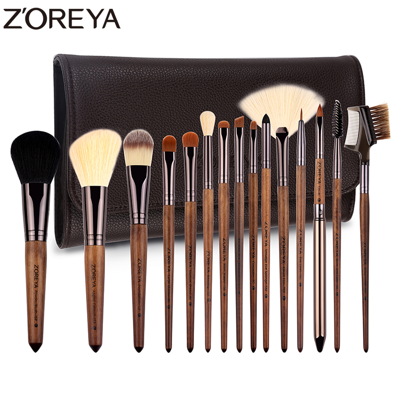 Zoreya Brand Hot sales lady walnut wood make up brush set Synthetic Hair foundation Berus 15 pcs / set Alat kosmetik berus