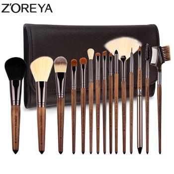 Zoreya Brand Hot sales lady walnut wood make up brushes set Synthetic Hair foundation Brushes 15 pcs/set Cosmetic brushes tool