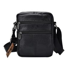 Genuine Cow Leather Men Business Messenger Bag Zipper Design Solid Crossbody Bags Mens Large Capacity Black Shoulder Bag for Man
