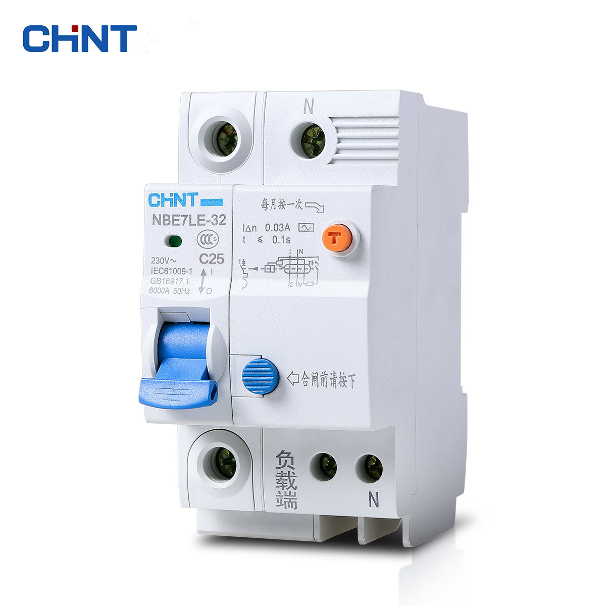 CHINT Single Pole Miniature Leakage Circuit Breaker Contact Protection Air Switch NBE7LE 1P + N 25A