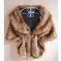 57'' Women Plus Size Faux Rabbit Fox Fur Cape Fake Full Pelt Shawl Sleeveless Gilet Poncho Bride V Neck Wide Warm Wrap Vest Coat