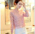 Macao ley fashion new spring ladies temperament slim collar Eugen hook flower lace yarn long sleeved jacket