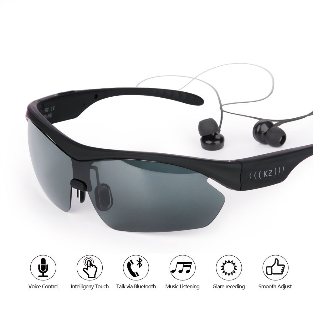 K2 Polarized Sunglasses Wireless Bluetooth Headset Sun Glasses Stereo Headphone Music Smart Touch Earphone For Iphone Andriod mllse anime hatsune miku vocaloid smart sun glasses bluetooth 4 1 stereo music wearable devices sport headset for phone mp3 mp4