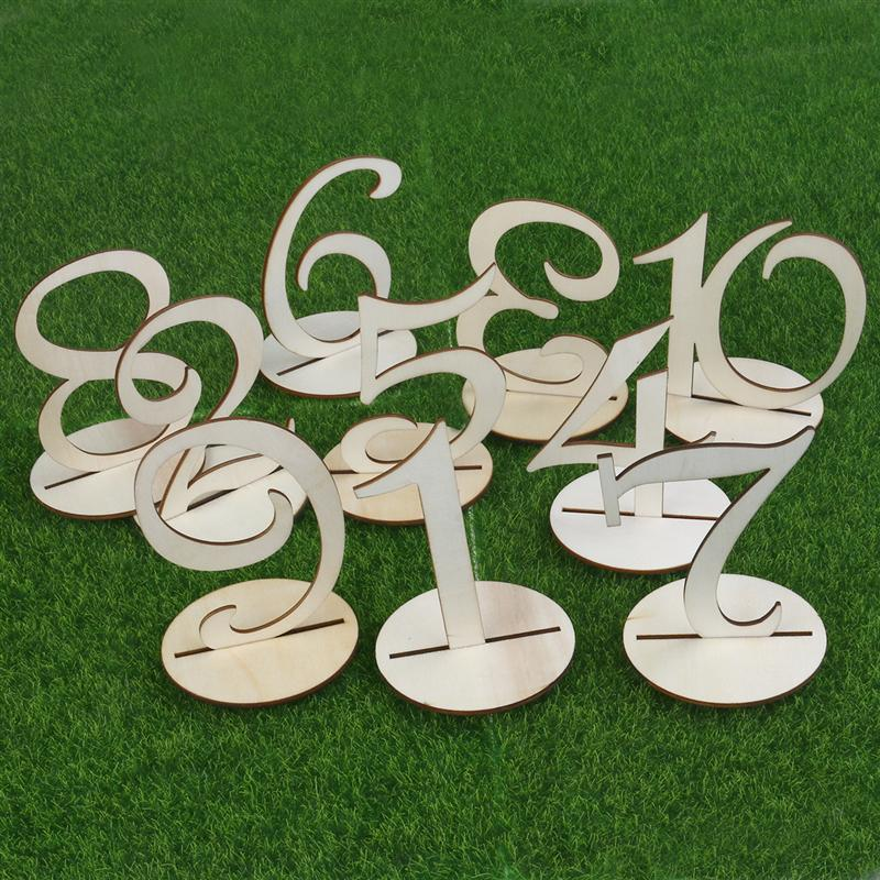 Number 1-40 Wooden Wedding Table Numbers Cards With Holder Base for Event Party Wedding Restaurant Home Supplies Decoration
