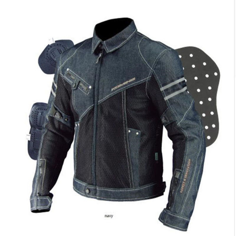 2018 SSPEC high quality Komine JK-006 Motorcycle Jacket Breathable Mesh Riding Racing motocross Denim Jacket with protector