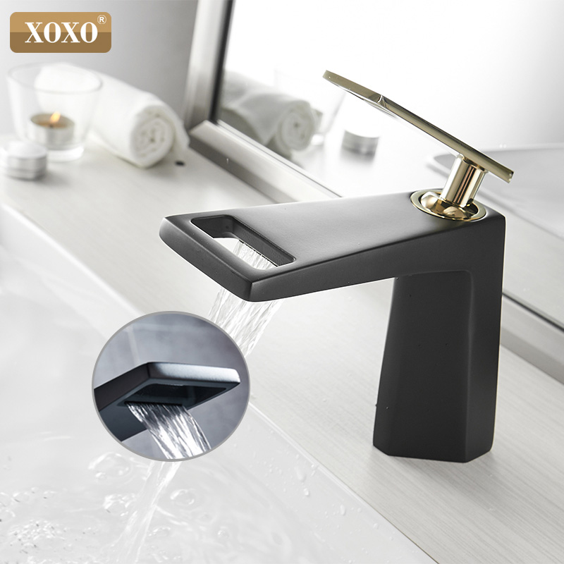 XOXO Basin Faucet  Black Waterfall Bathroom Faucet  Cold And Hot Single handle Bathroom Faucet Mixer Water Tap 80015-in Basin Faucets from Home Improvement    1