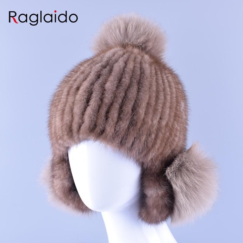 Raglaido knitted mink fur hats casual cap women winter real fur trapper ear hat pompom skullies russian snow beanies LQ11158 mink skullies beanies hats knitted hat women 5pcs lot 2299