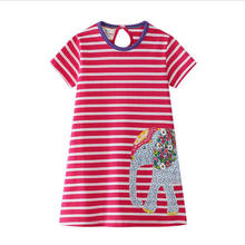new designed summer dresses kids top quality cartoon dress with applique some lovely dinosaurs hot selling Summer Girls Dress