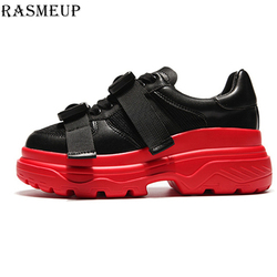 RASMEUP Genuine Leather Mesh Women's Platform Sneakers 2018 Fashion Women White Black Dad Shoes Woman Casual Chunky Footwear