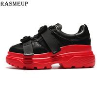 RASMEUP Genuine Leather Mesh Women's Platform Sneakers 2019 Fashion Women White Black Dad Shoes Woman Casual Chunky Trainers