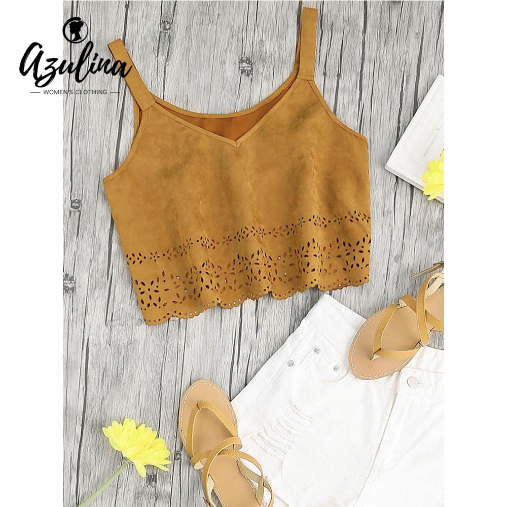 AZULINA Laser Cut Faux Suede Cropped Tank Top Women Casual Cotton V Neck Crop Ladoes Tops 2018 Fashion Sweet Girls Clothes Camis