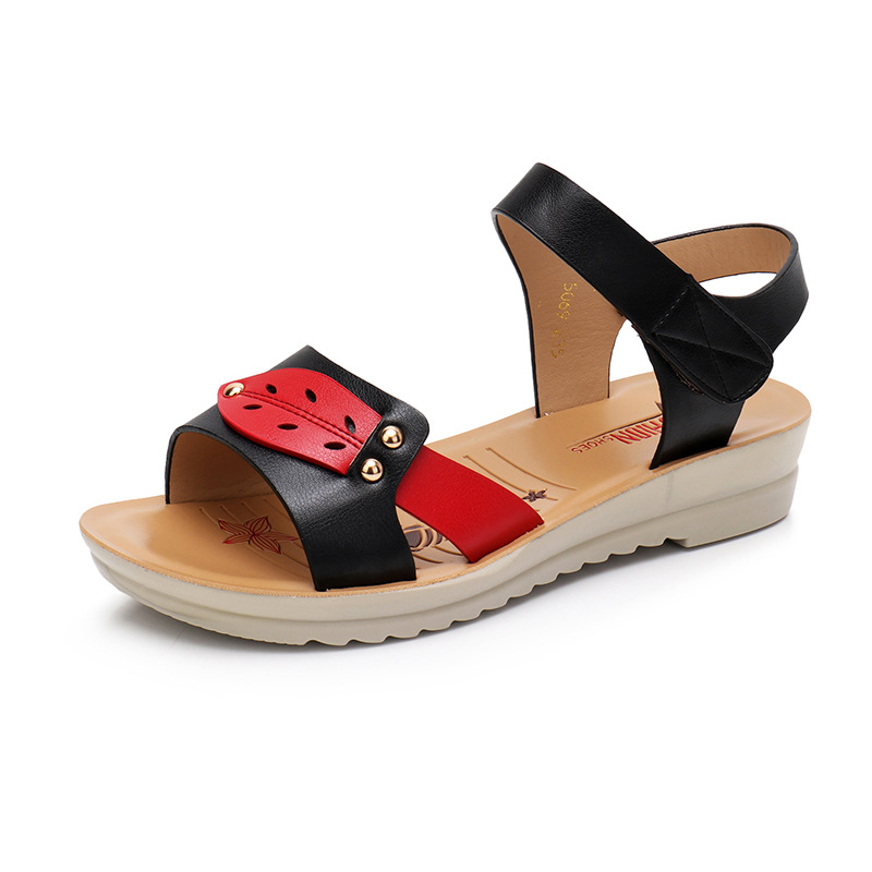 Ylqp 2018 Summer New Leather Shoes Women Flip Flops Soft Flat Sandals Peep-toe Woman Casual Comfortable Wedge Sandals Ladies fashion summer gladiator women flat fashion shoes casual occasions comfortable sandals round toe casual peep toe flat shoes s