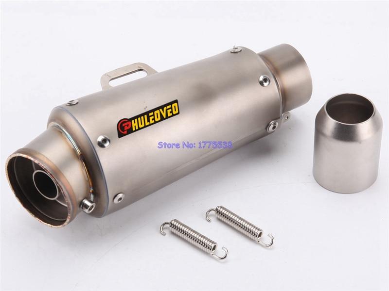 PHULEOVEO Length 250mm Inlet 51mm Motorbike Exhaust Pipe Muffler Motorbike Carbon Fiber Muffler Exhaust Pipe Escape DB Killer