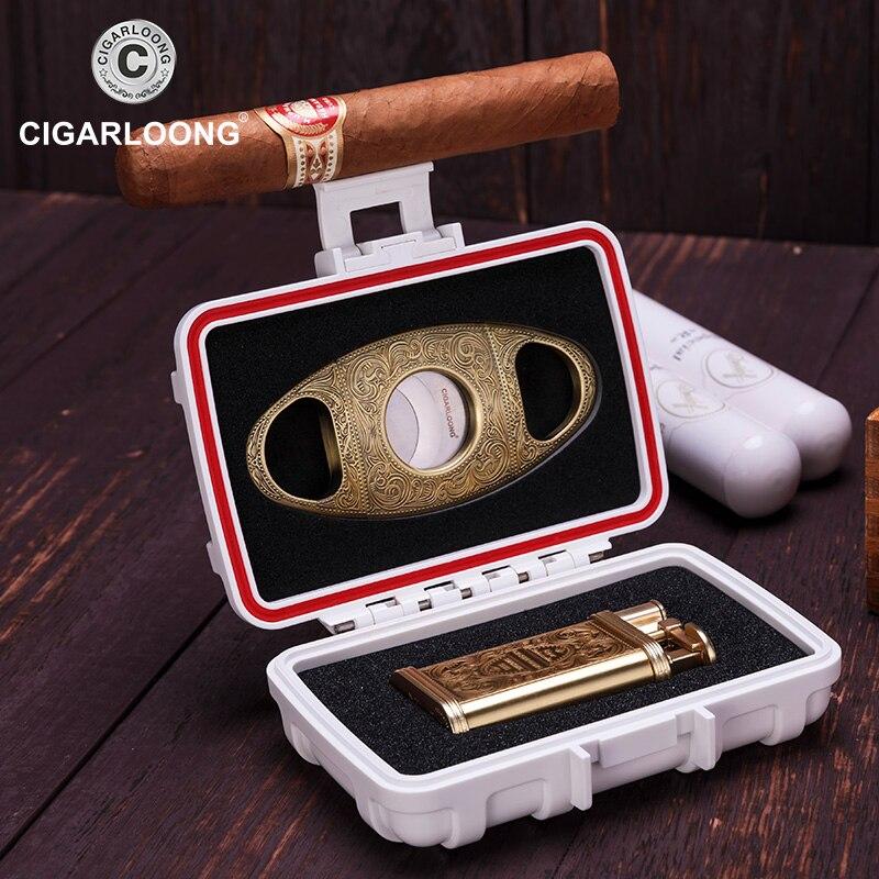 CIGARLOONG sigaro set Multifunzione scatola sigillata con cigar cutter e leggero CQ-0113