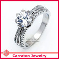 Carraton RSQD1060 High Quality Big CZ Diamond Genuine 925 Silver Ring