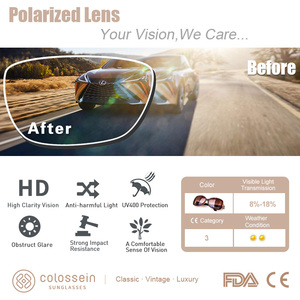 Image 3 - COLOSSEIN MSTAR 선글라스 여성 편광 된 럭셔리 라운드 금속 경첩 태양 안경 점진적 빛 소프트 클래식 안경 UV400