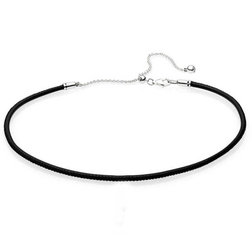 Woven Fabric Black Leather Choker Ball Clasp ESSENCE COLLECTION Necklace For Women Europe Jewelry 925 Sterling Silver Necklace