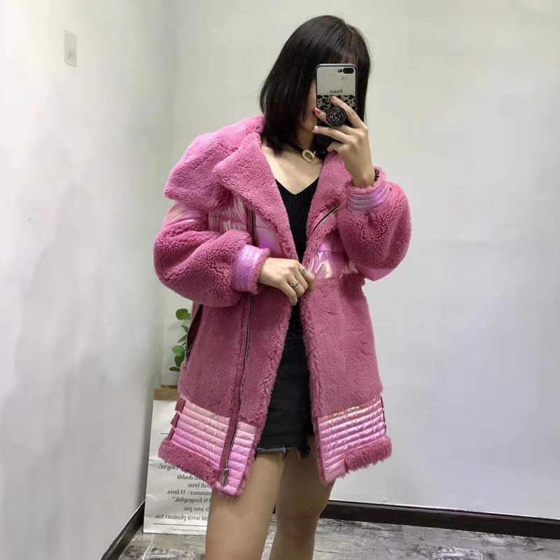 Парка с овечьим мехом, длинное женское зимнее пальто 2019, новая мода, 90% белый пуховик на утином пуху, толстая теплая парка с воротником, розовые пальто