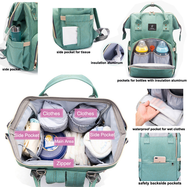 Large Capacity Waterproof Diaper Bag With USB interface – blue purple