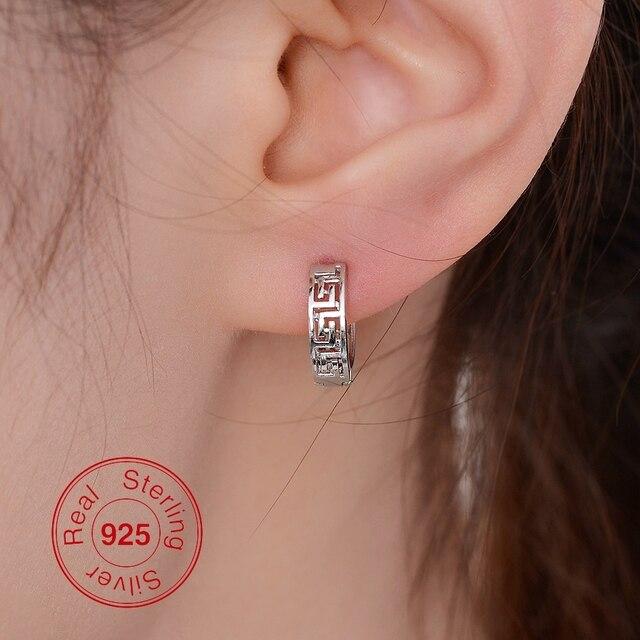 MEN Classic Hoop Earrings 925 Sterling Silver 13MM Small Huggie Hoop Earrings For Women Great Wall Pattern Silver Hollow Earring