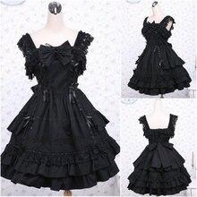 Kunden zu bestellen! V-1094 Schwarze ärmellose Cotton Gothic Lolita Kleid schuluniform Halloween Cosplay Cocktailkleid