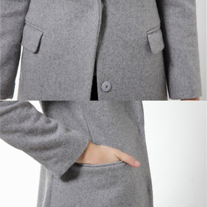 Image 4 - Womens Wool Coats European Style High Quality Autumn Winter Jackets Slim Woolen Cardigan Gray Jacket Elegant Blend Women New