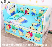 Promotion! 6pcs Cute Baby Cot Set 100% Cotton Crib Set For Kids,Baby Bedding Set Unpick,,include (bumpers+sheet+pillow cover)