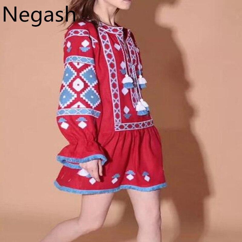 Geométrico Boho Vestidos Alta Cordón Cielo Mujeres rojo Negash Vestido Azul Casual Flojo Indie Popular Calidad Nuevo Diseño Mini zIaz6qPU