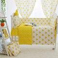 Amarelo bonito do Projeto Da Coroa das Crianças Roupa de Cama Berço Kit, bebê Berço Cama Set, Cama Berço do bebê Para Recém-nascidos, vário Tamanho