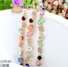 SINUAN Rhinestone Chain For Crafts Sew-On Crystal Resin Flower Decorations For Clothes Tape Yard Crystal Stones For Clothing