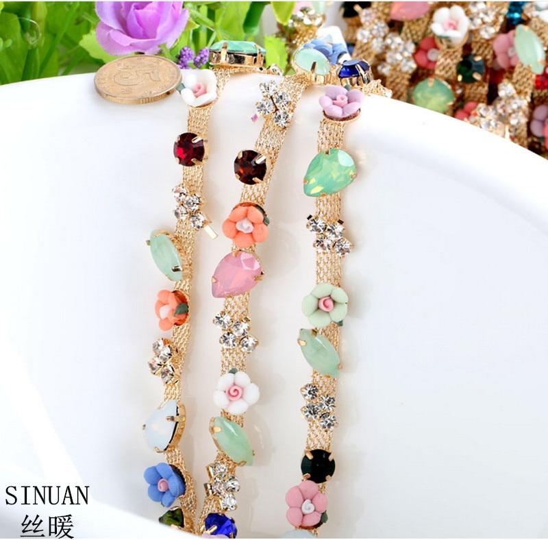 SINUAN Strass ketting voor ambachten Opnaaistenen kristal hars bloem - Kunsten, ambachten en naaien