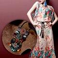 Boho ювелирные изделия этническая чешский ожерелье 2016 мода бирюзовый натуральный камень агат кокосового ореха slice подвески vintage maxi длинной цепи