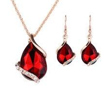Women bridal Wedding Jewelry Set Charm Crystal Water Drop Pendant Necklaces Earrings Sets Shininy Cubic Zircon bijoux цена