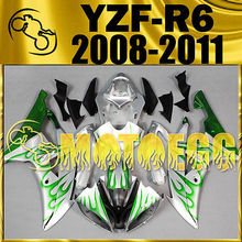 Motoegg Injection Fairings For YZF-R6 YZF R6 08-11 Green Flames Hot M07 + Tank   Motorcycle plastic