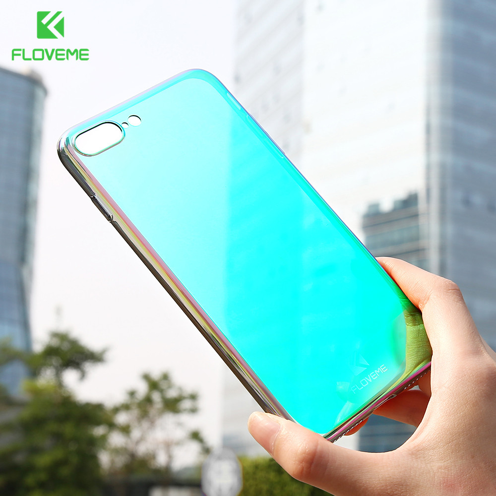 FLOVEME Gradient Case For iPhone 6 6s Plus Ultra Thin Mirror Case For iPhone 5 5s Hard Back Protective Cover For iPhone 7 7 Plus in Half wrapped Cases from Cellphones Telecommunications