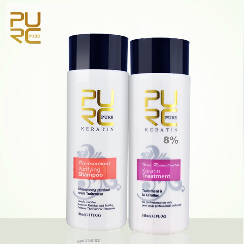 PURC Brazil Keratin 8% Straightening Hair Treatment+ PUrifying Shampoo Set Repair Damage Frizz Dry Hair Products
